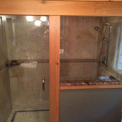 Shower Door with Wood Frame